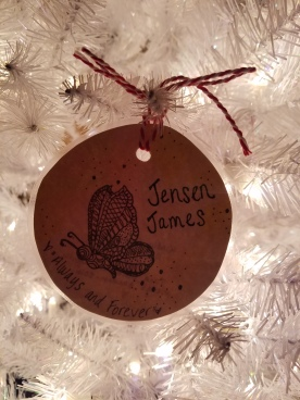 A beautiful ornament made from my fellow loss mom Tara