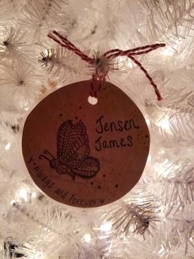 A beautiful ornament made from my fellow loss mom Tara